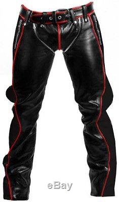 Sexy Real Black Red Leather Heavy Duty Bondage Pants Jeans Bluf Gay