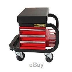 TANKSTORM Creeper Seat Tool Box, 3 Drawers Heavy Duty Tool Chest With 4 Rolling