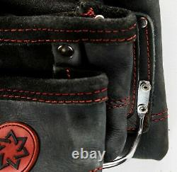Ten Pocket Grain Leather Heavy Duty Black/Red Tool Pouch With 2 Hammer Holders