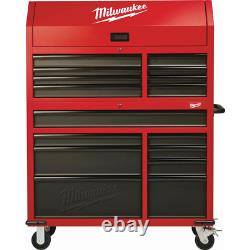 Tool Chest and Rolling Cabinet Set 46 in. 16-Drawer Steel Textur Red Black Matte