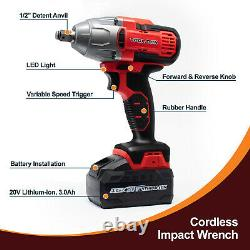 Toolman 20V Max 2200RPM 480Nm 1/2 Cordless Impact Wrench with 4PC sockets