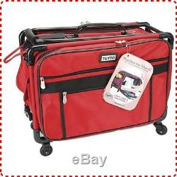 Tutto Large Machine Bag 4 Wheels, Heavy Duty Nylon Fabric, Red, Collapsable