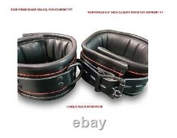 Unisex 7 Pieces Real Black Leather with Red Thread Heavy Duty Bondage Restraints
