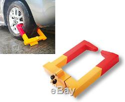 Universal Heavy Duty Security Anti-theft Wheel Clamp Lock with2 Keys YellowithRed