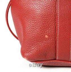 Village Tannery NY Large Red Pebble Leather Tote Shopper Carryall Handbag