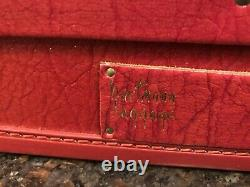Vintage Hartmann Red Faux Leather Travel Briefcase Suitcase Luggage 1960s -70s