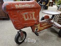 Vintage Original Red Hamilton Heavy Duty 1950's Chain Bearing Pedal Toy Tractor