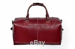 Weekend Bag Holdhall REAL LEATHER OXBLOOD Duffel Style For Travel & Gym